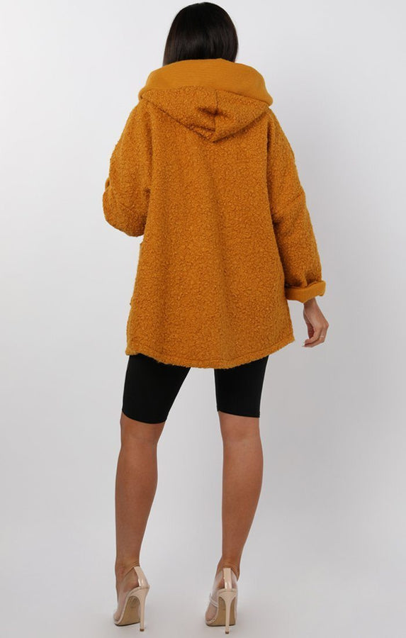 Mustard Oversized Hooded Teddy Jacket - Katrina