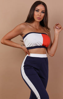Contrast Bandeau Two Piece Co-ord Set - Kylie