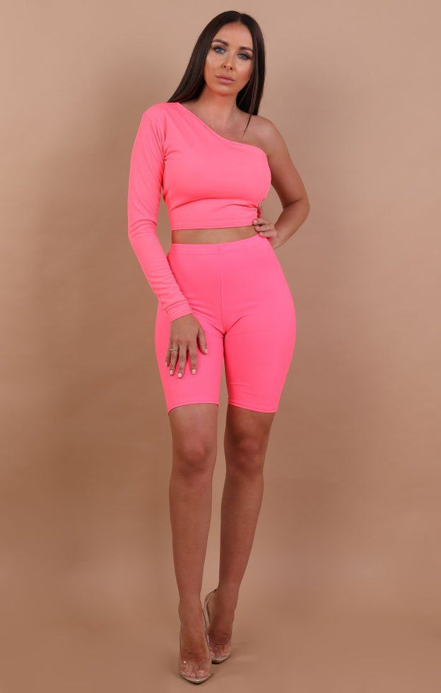 Neon Pink One Shoulder Crop Top - Lola
