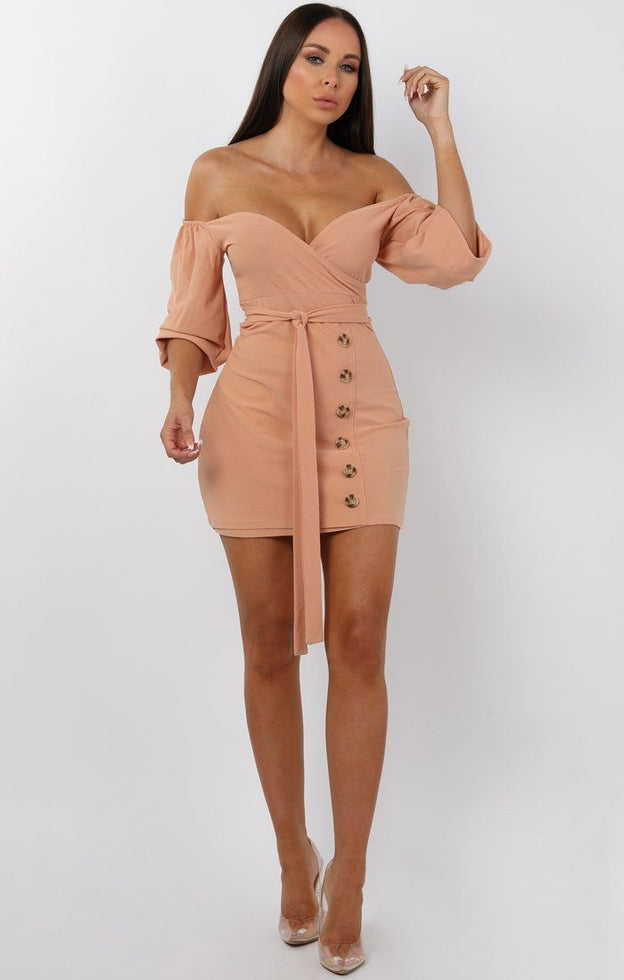 Nude Bardot Button Belted Mini Dress - Sandra