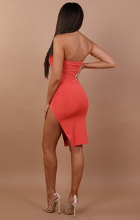 Coral Split Leg Bandeau Mini Dress - Ailie