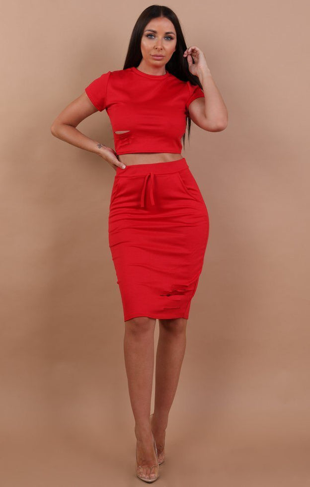 Red Distressed Jersey High Waist Skirt Two Piece Co-ord Set - Violetta