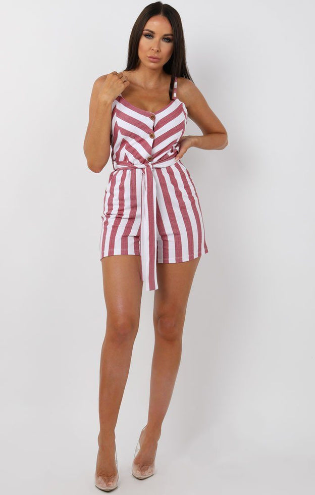 Red and White Striped Cami Playsuit - Chantelle