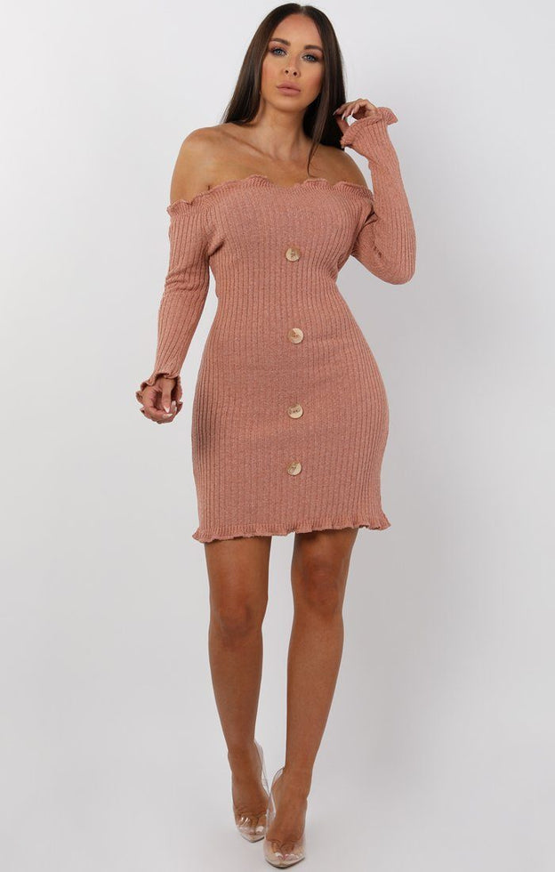 Rose Bardot Frill Button Mini Dress - Trudy