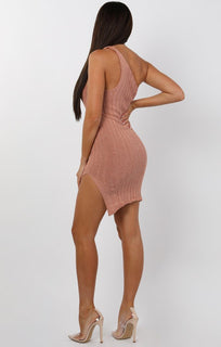 Rose Knitted One Shoulder Midi Dress - Sorcha
