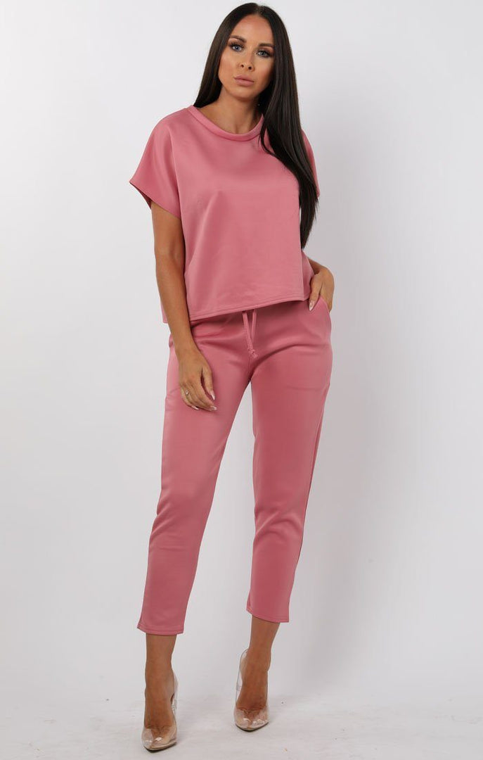 Rose Short Sleeve Boxy Loungewear Set - Lacy