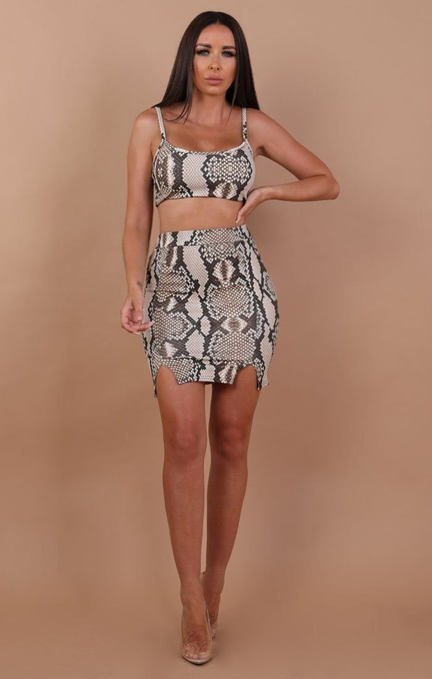 Animal Snake Print Crop and High Waist Skirt Two Piece Co-ord Set - Layla