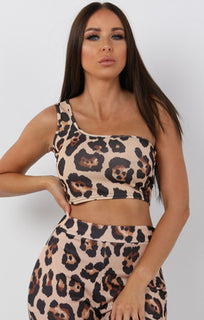 Tan Animal Leopard Print One Shoulder Crop Top - Keeley