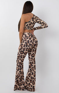 Tan Animal Leopard Print One Shoulder Crop Top - Lola