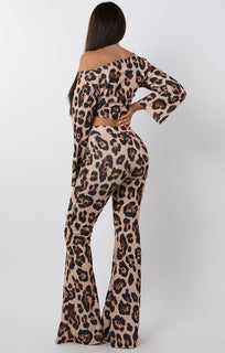 Tan Animal Leopard Print Tie Front Crop Top - Leanne