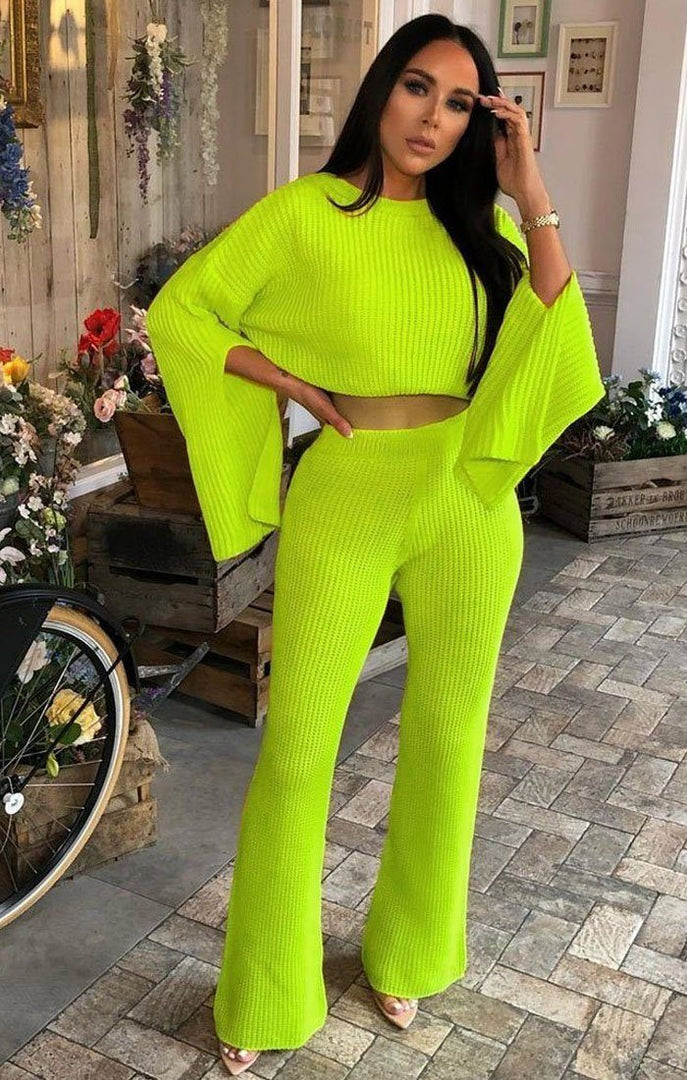 Neon Lime Oversized Split Sleeve Top Co-Ord Set - Ash