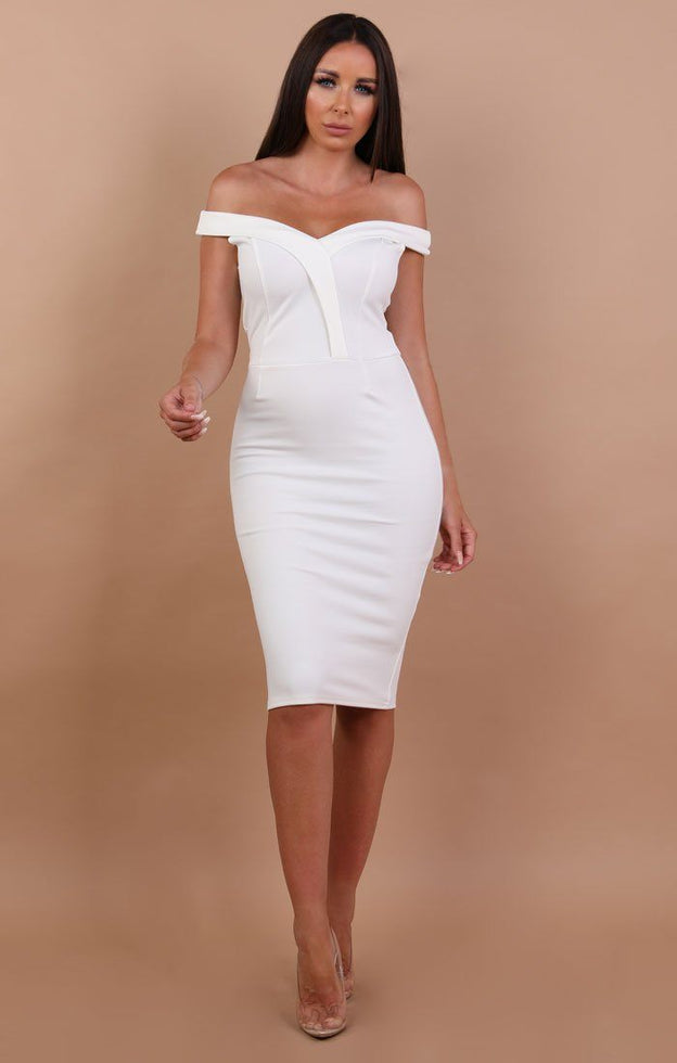 White Bardot Bodycon Midi Dress - Shannon