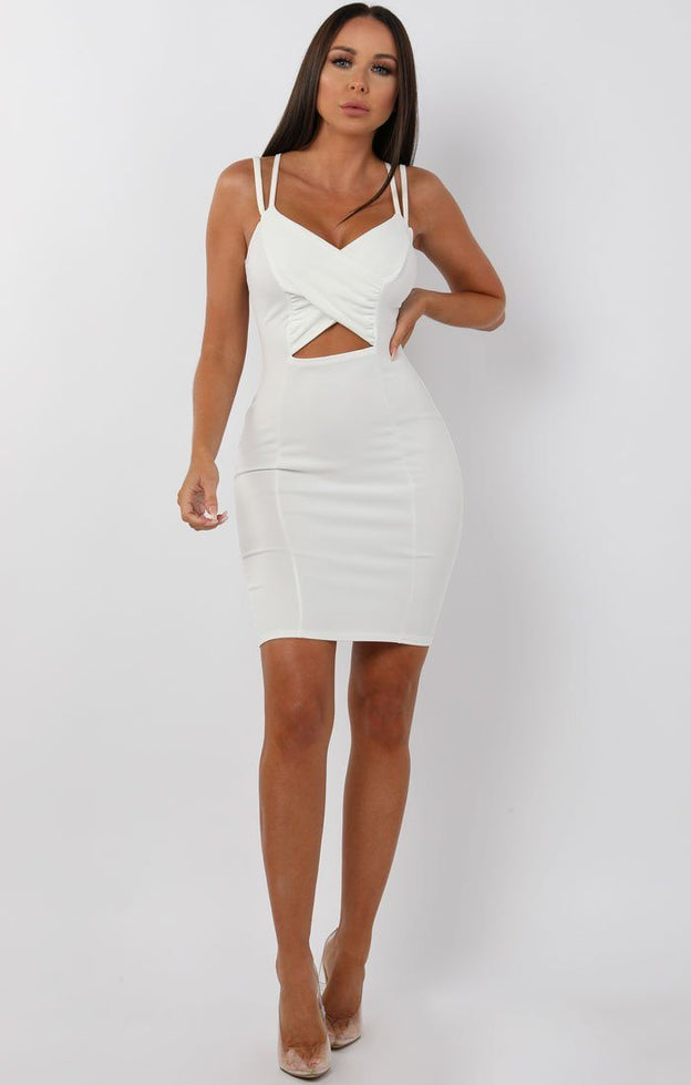 White Cross Over Bodycon Mini Dress - Maria