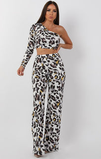 White Animal Leopard Print One Shoulder Crop Top - Lola