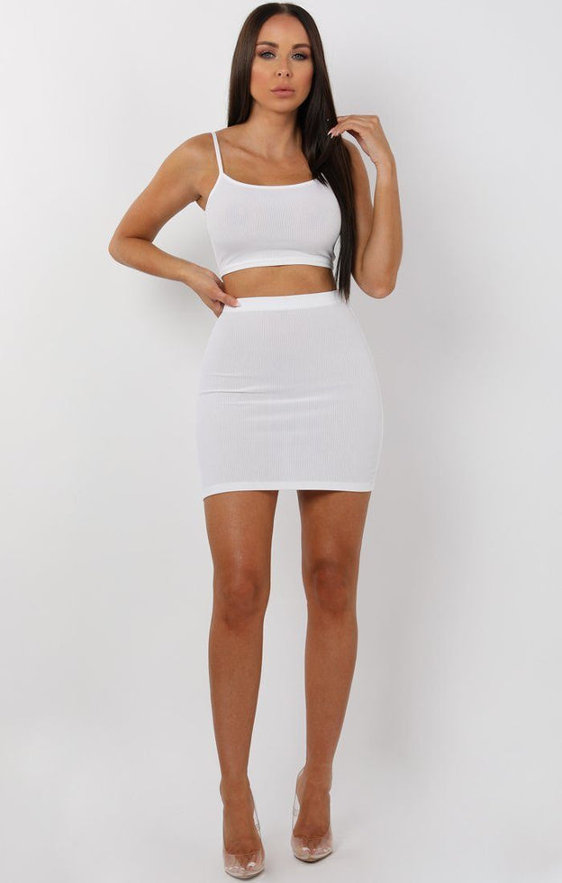 White Mini High Waist Skirt Two Piece Co-ord Set - Aliyah