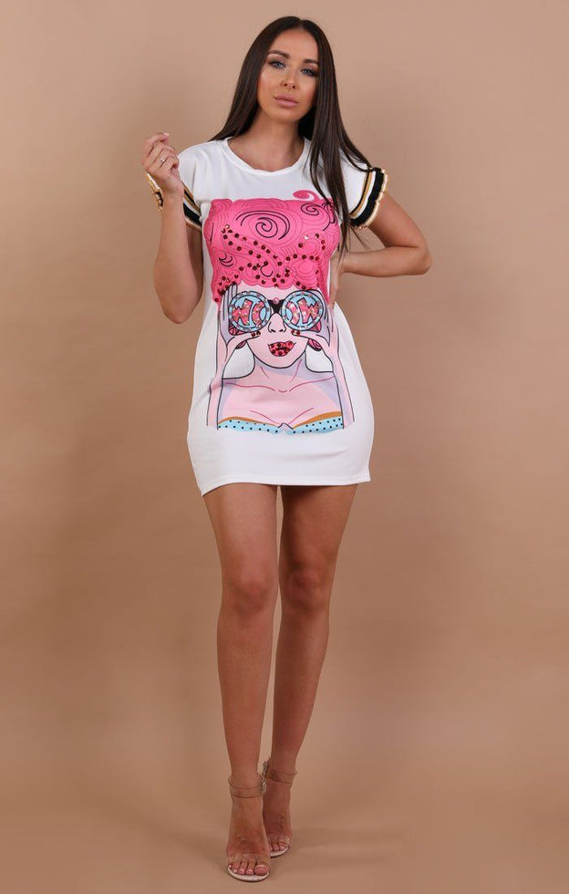 White Pop Art T-Shirt Dress - leonie