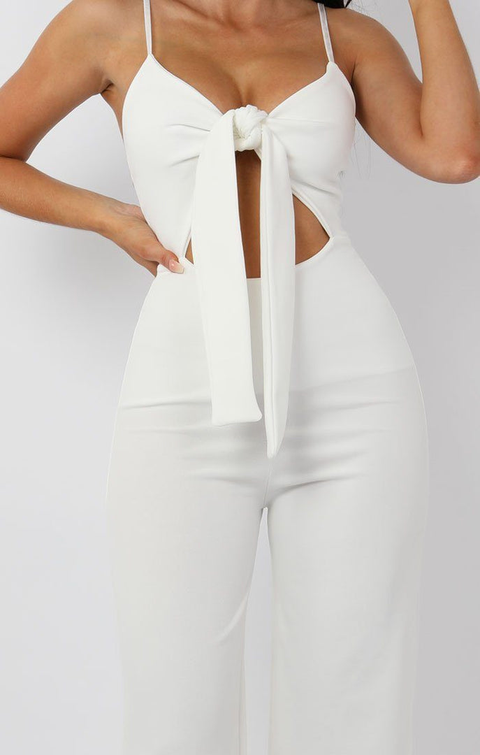 White Tie Front cut Out Jumpsuit - Moira