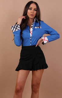 Blue Check Detail Shirt - Tori
