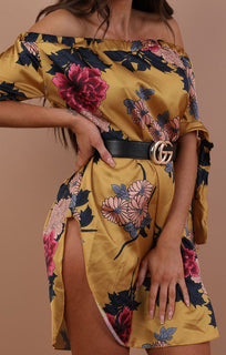 Mustard Floral Satin Bardot Dress - Safron
