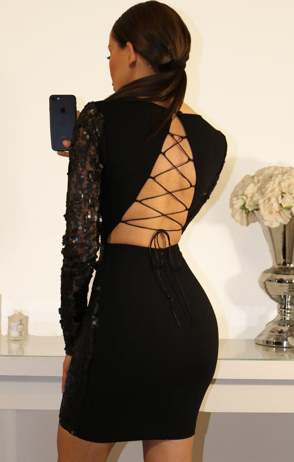 Black Sequin Dress With Lace Up Back