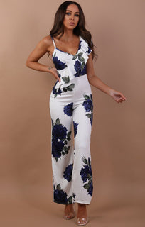 Blue Floral Frill Jumpsuit - Libby
