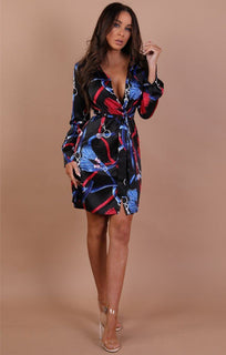Black Red And Blue Scarf Print Shirt Dress - Kayleigh