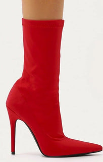 Red Pointy Stiletto Sock Boot - Lexi