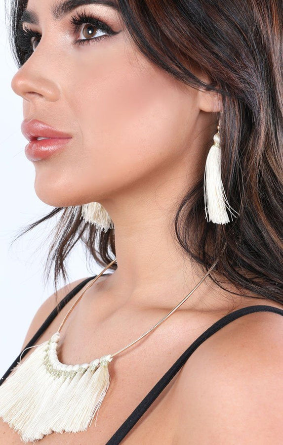 Cream Embellished Tassel Earrings And Necklace Set