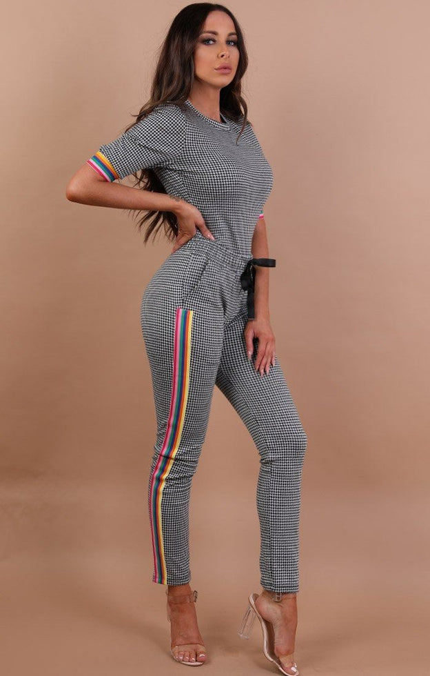 Premium Houndstooth Rainbow Stripe Lounge Set - Keli