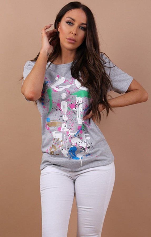 Grey Guilty Abstract Printed T-shirt - Becky
