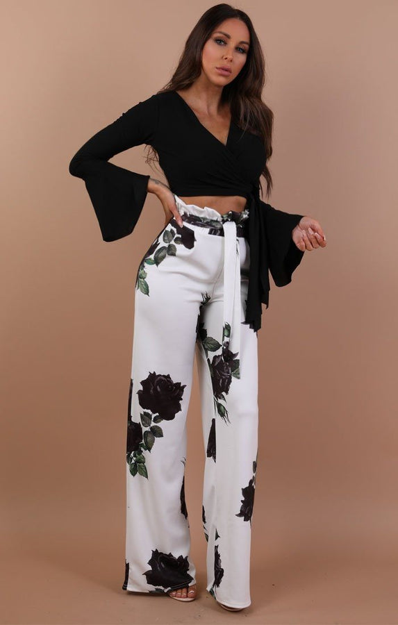 Black Bell Sleeve Wrap Crop Top – Payton