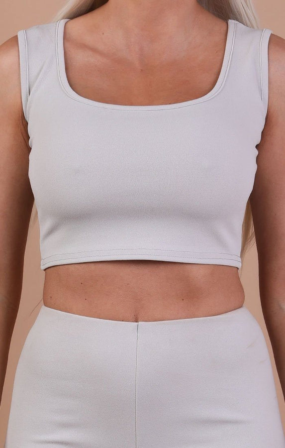 Grey Thick Strap Basic Crop Top - Tammy