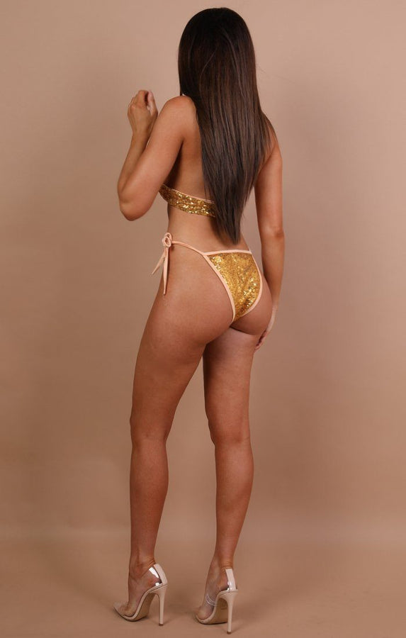 Gold Sequin Ring Halter Neck Swimwear - Ava