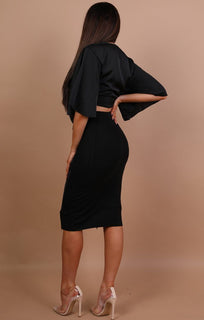 Black Zip-up Bodycon Midi High Waist Skirt