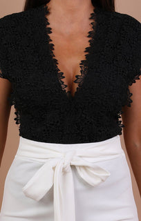 Black Floral Embroidery Bodysuit - Brandy