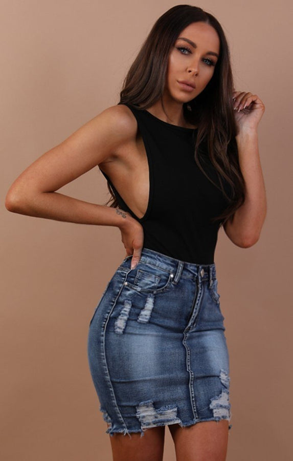 Distressed Denim Mini High Waist Skirt - Hazel