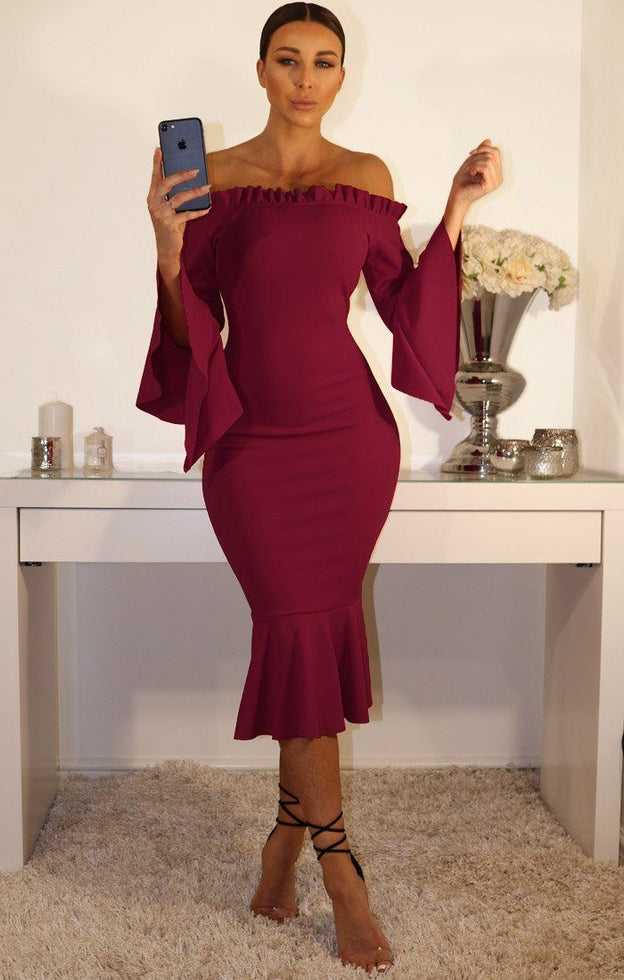Wine Bardot Frill Sleeve Dress With Ruffle Detail