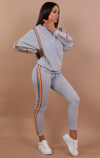 Grey Rainbow Stripe Tracksuit - Brooke
