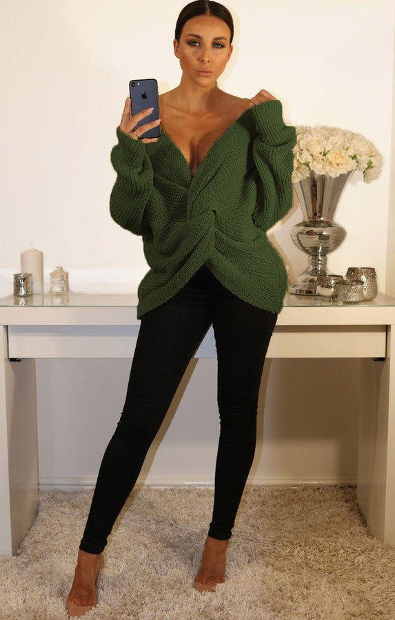 Khaki Front Wrap Knitted Jumper