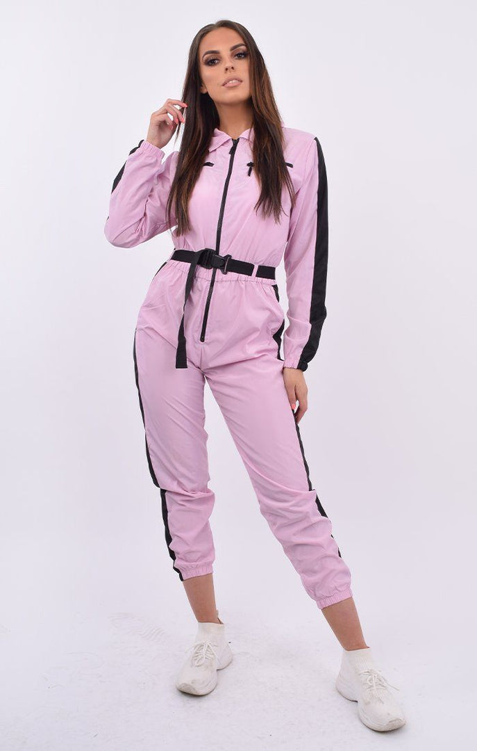 Baby Pink Black Stripe Belted Jumpsuit Shell Suit - Tahlia
