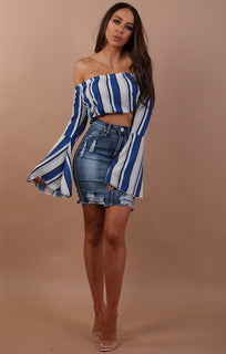 Blue Bell Sleeve Stripe Crop Top - Rylee