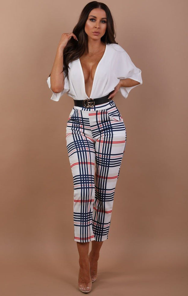 Cream Check Cropped Tapered Trousers - Marina