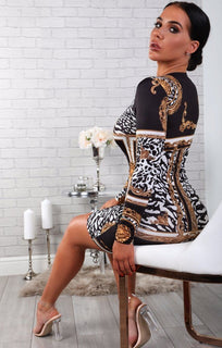 Black And White Scarf Print Bodycon Dress