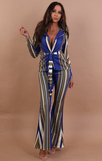 Blue And Mustard Striped Blazer Co-ord Set - Estelle