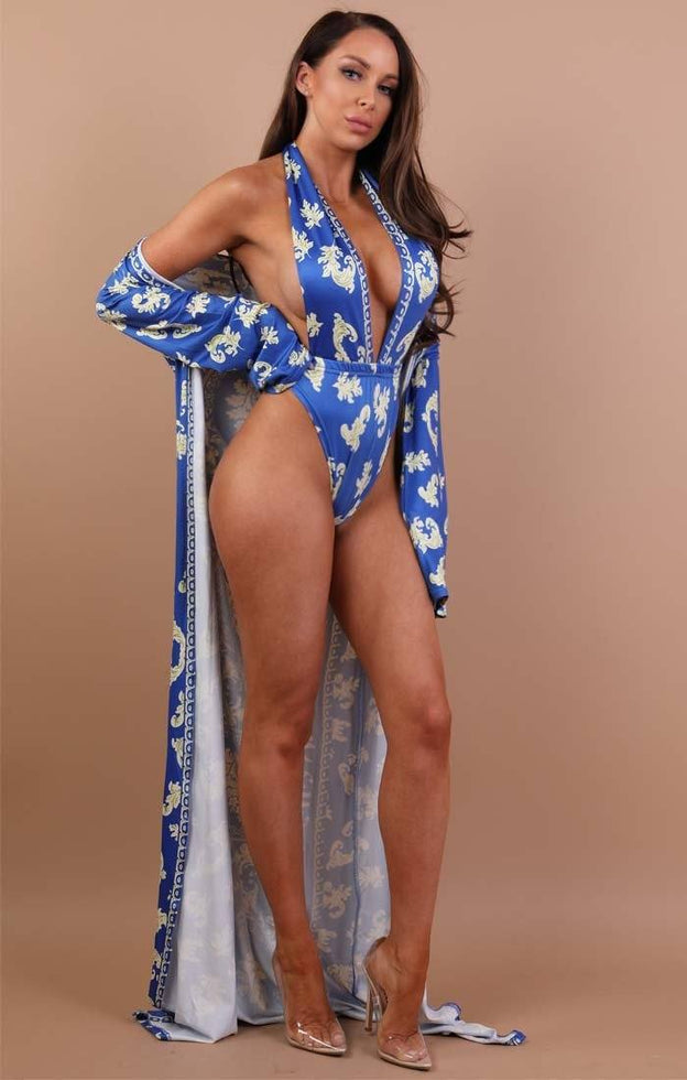 Blue Baroque Print Swimwear Set - Danika