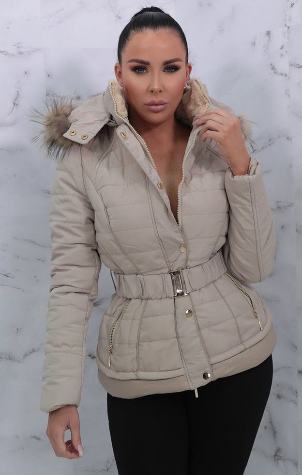 Beige Belted Padded Faux Fur Hooded Coat - Giovanna