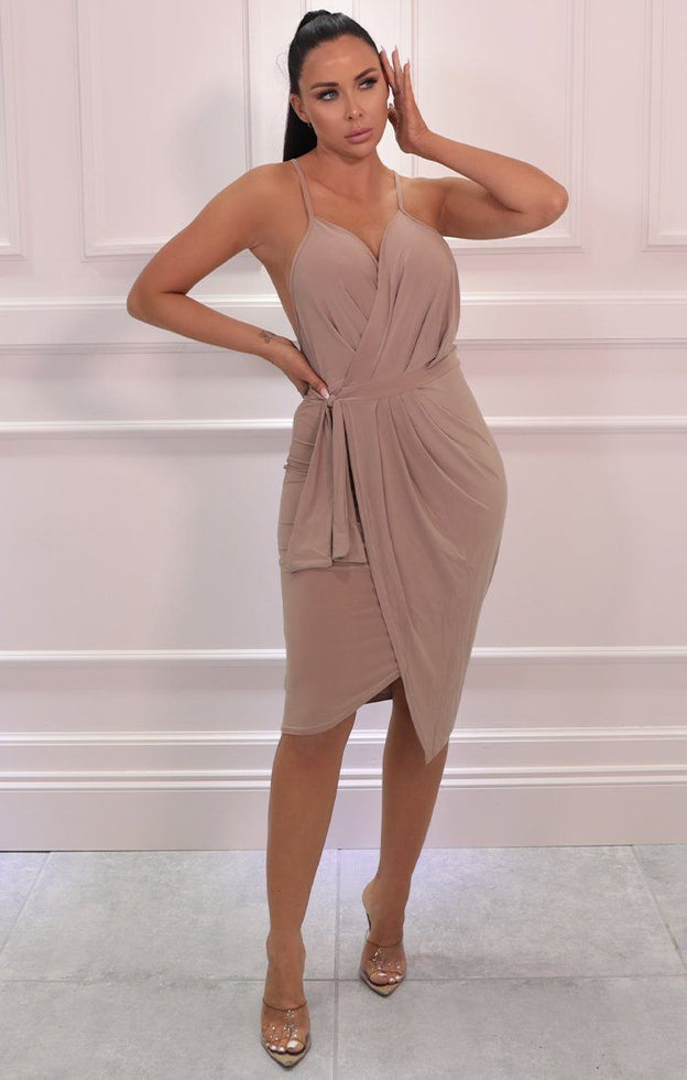 Beige Slinky Wrap Halter Neck Dress - Floriana