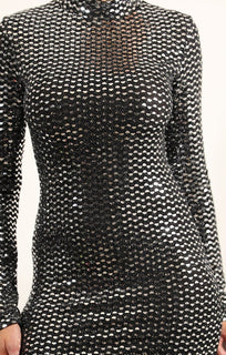 Black And Silver Sequin Bodycon Mini Dress