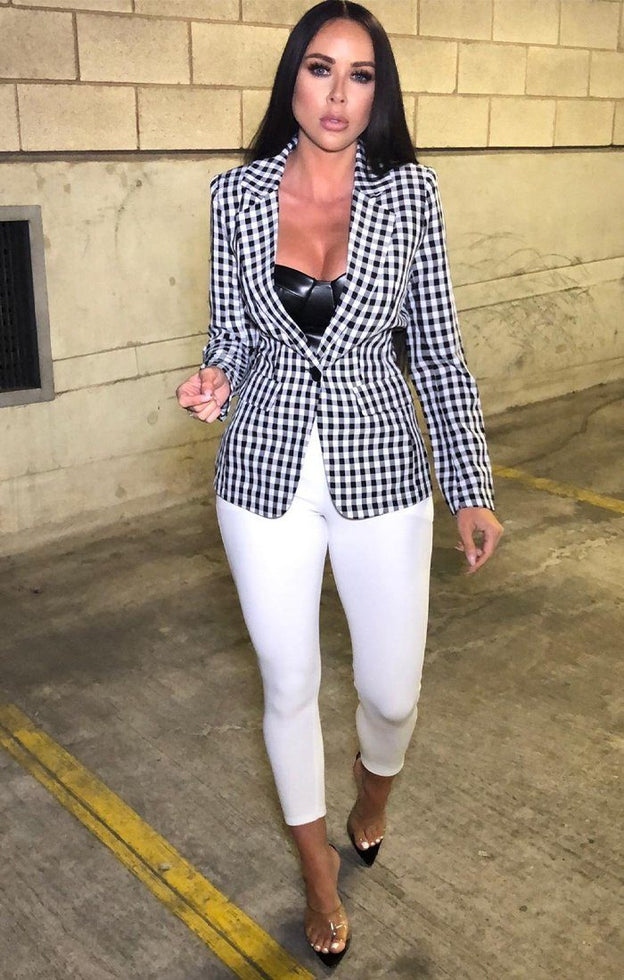 Black and White Check Blazer - Frida