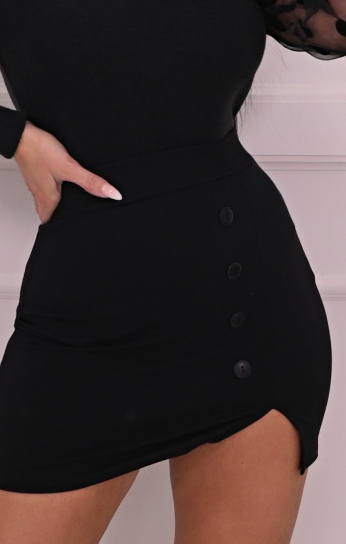 Black Button Split Side Mini Skirt - Barnaby